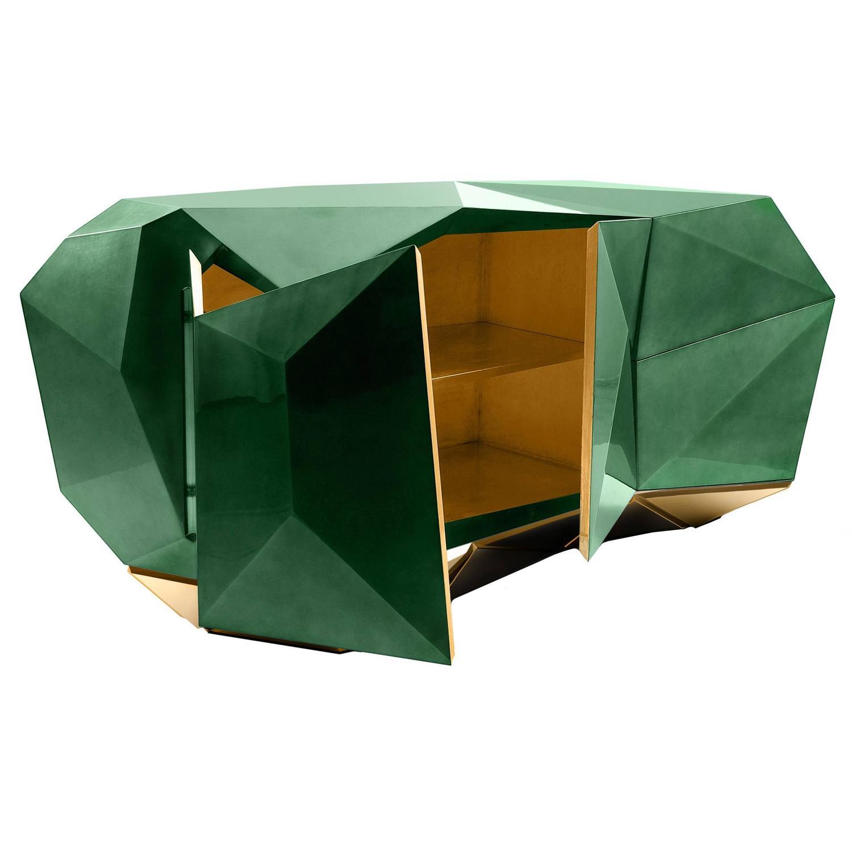 European Boca Do Lobo Diamond Emerald Green and Gold Leaf ...
