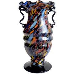 Fratelli Toso Murano Color Spots Italian Art Glass Carnival Flower Vase