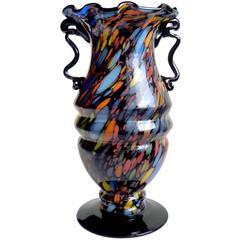 Fratelli Toso Murano Color Spots Italian Art Glass Carnival Vase