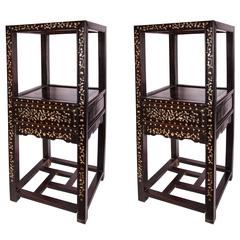 Pair of Mother-of-Pearl Inlaid Stands