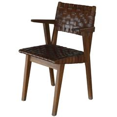 Jens Risom Chair in Oak and Leather