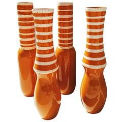 Set of Four Large Danish Ceramics Orange, 1960s