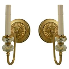 Pair of Two-Tier Glass Single Arm Sconces(2pair available)