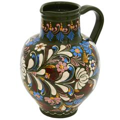 Vintage Hand-Painted Large Ceramic Jug, Made in Hungary