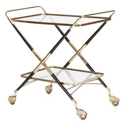 Cesare Lacca Bar Cart Brass and Mahogany, 1950