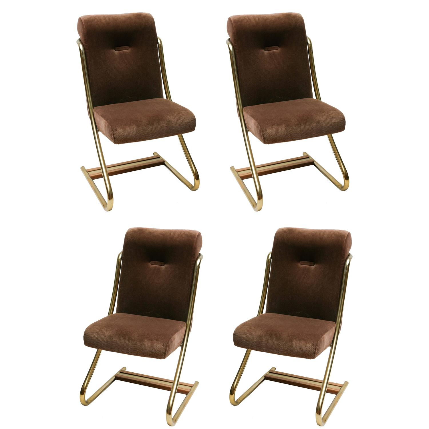 Set of four brass upholstered dining chairs by daystrom for Upholstered dining chairs for sale