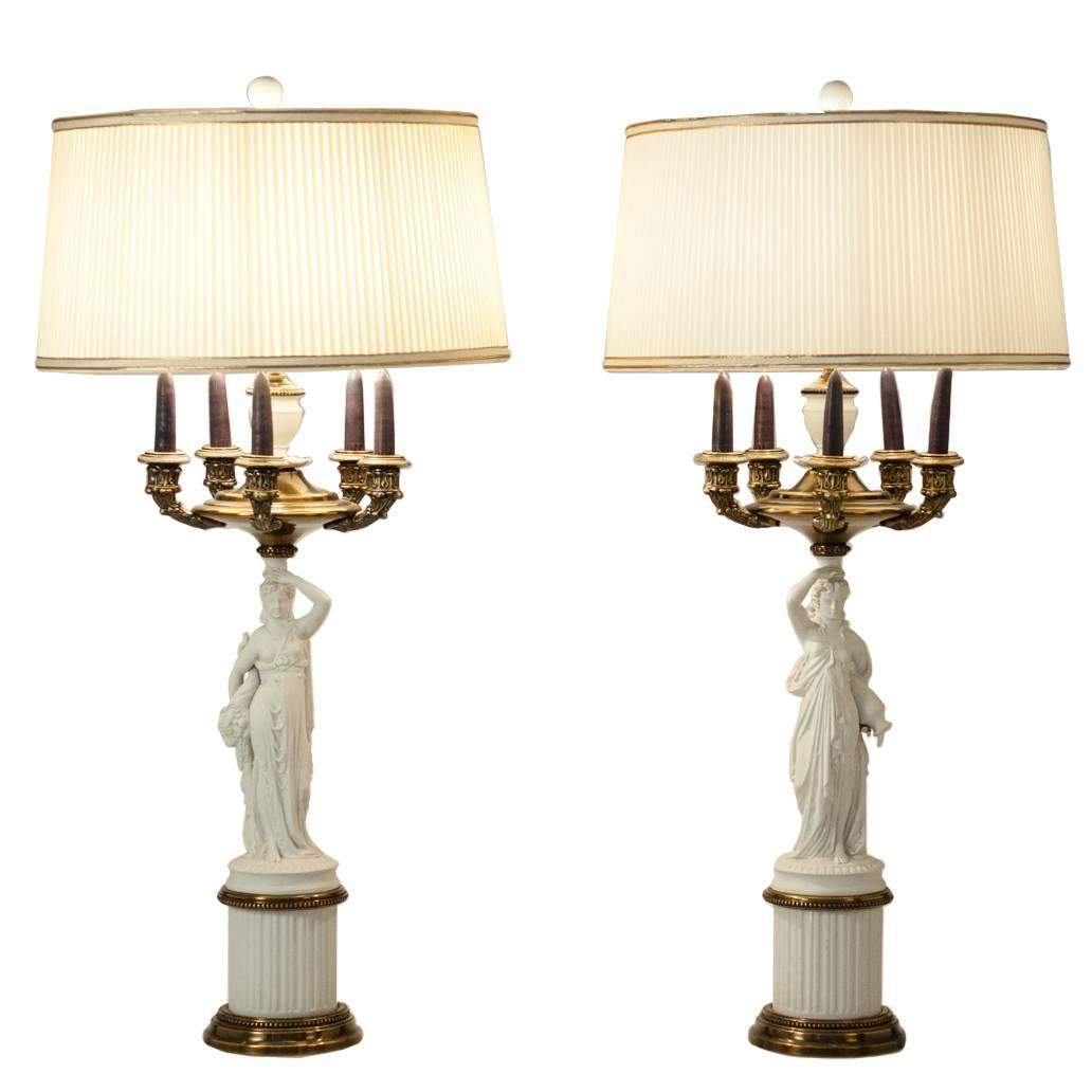 antique french porcelain pair of table lamps for sale at. Black Bedroom Furniture Sets. Home Design Ideas