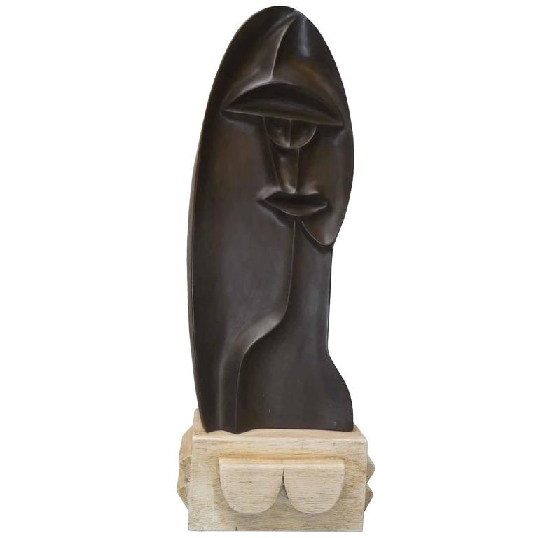 Abstract Bronze Sculpture by D. Ghiatza, Stylized Face, 1974