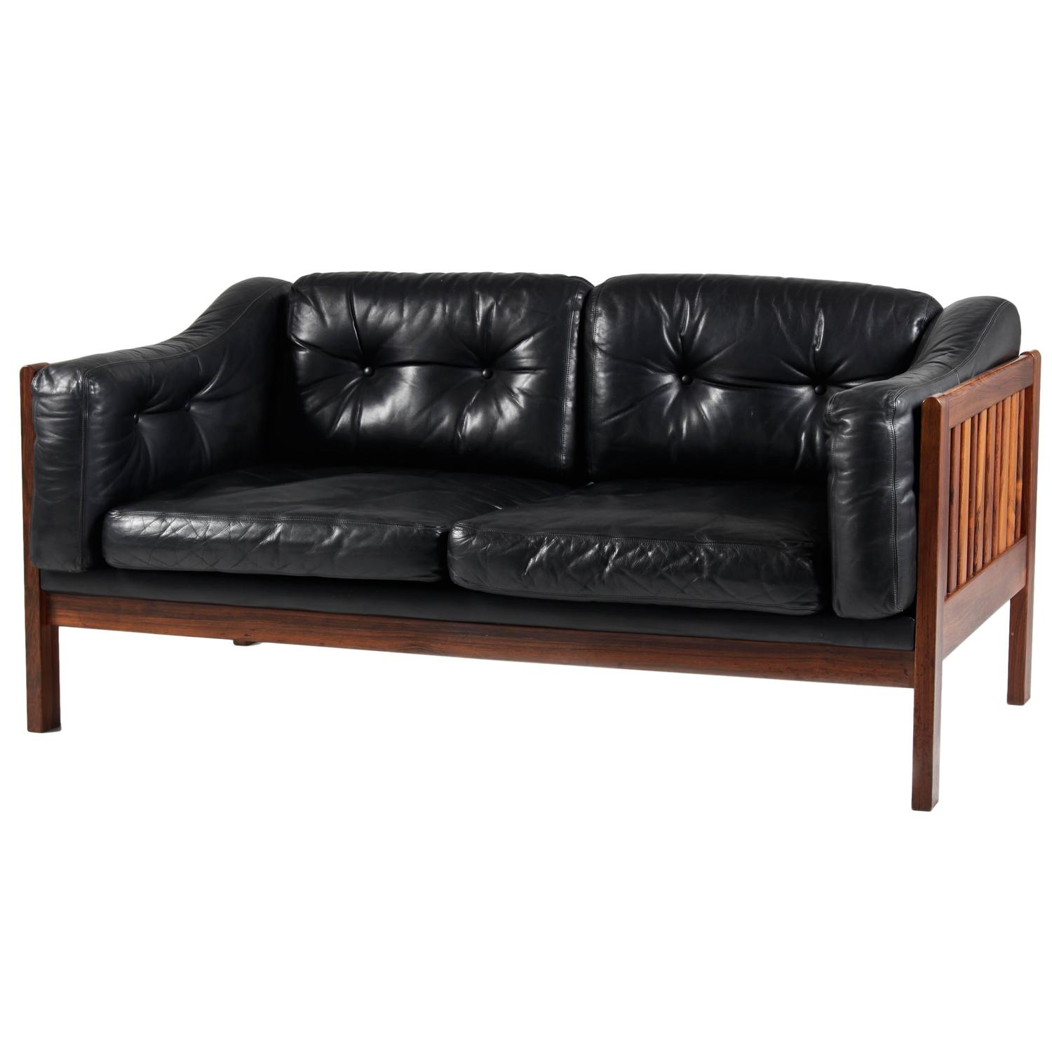 "Mahogany and Leather Sofa ""Monte Carlo"" 1965 at 1stdibs"