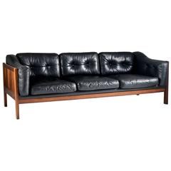 """Rosewood and Leather Sofa """"Monte Carlo"""" 1965"""