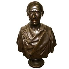 Fine Patinated Bronze Bust of a Roman or Greek Nobleman