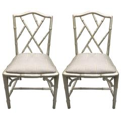 Pair of Chinoiserie Silver Painted Faux Bamboo Side Chairs