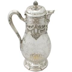 French Acid Etched Glass and Sterling Silver Mounted Claret Jug, Antique 1909