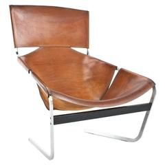 F444 Pierre Paulin Saddle Leather Lounge Chair for Artifort, Original 1969