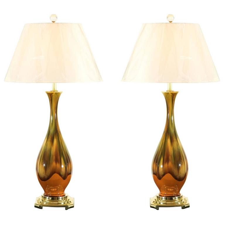 Restored Pair of Vintage Dip Ceramic Lamps in Yellow Ochre, Caramel and Green