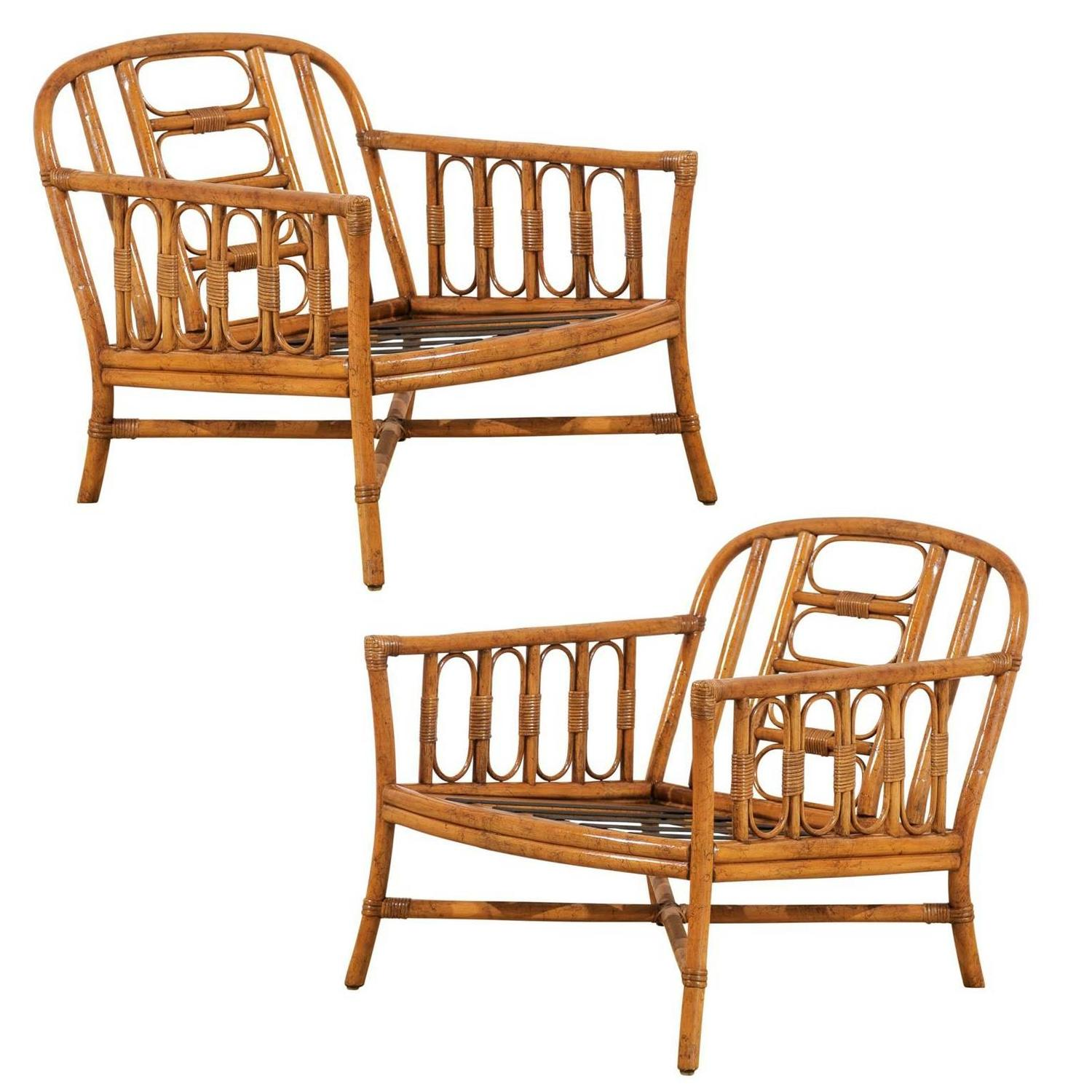 Lovely Pair of Vintage Loungers by Ficks Reed For Sale at