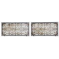 Pair of Iron Consoles with Marble Tops