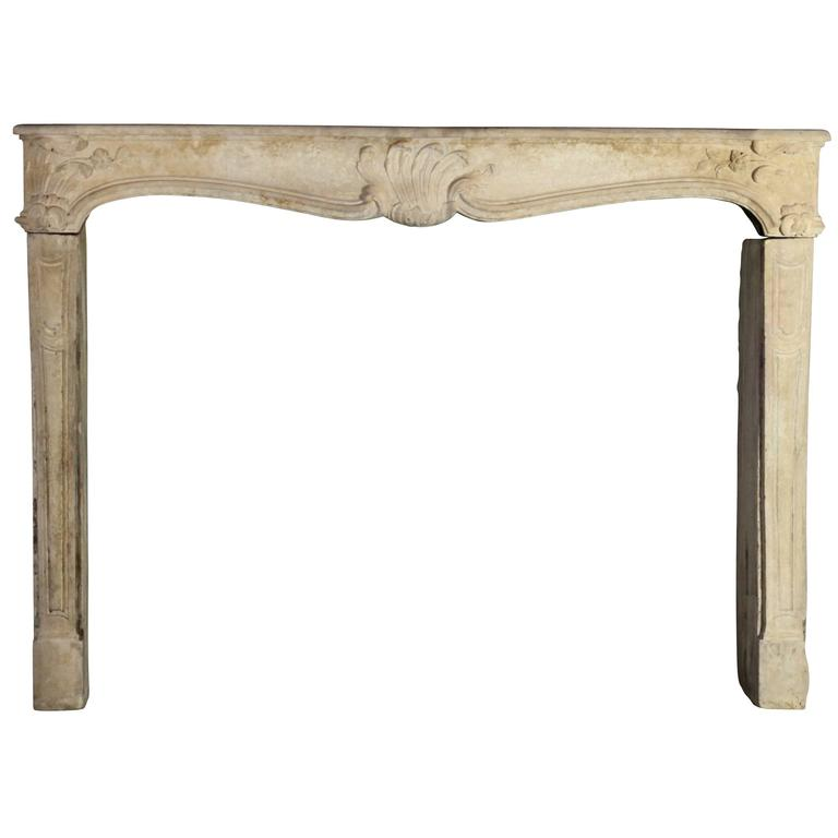18th Century Country Original Antique Fireplace Mantle in Limestone