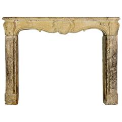 18th Century Country Original Antique Fireplace Mantel in Limestone