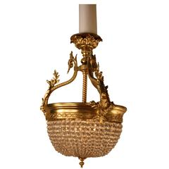 French Bronze and Crystal Basket Chandelier