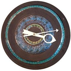 George Nelson Meridian Wall Clock Rimini Blue Face by Aldo Londi for Bitossi