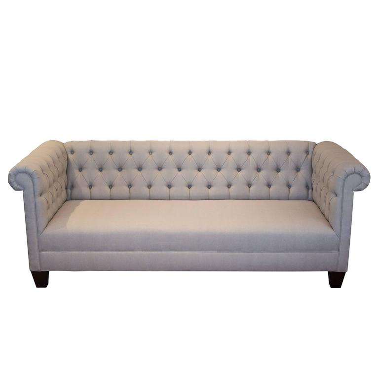 Classic chesterfield sofa in grey linen for sale at 1stdibs for Gray sofas for sale