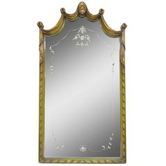 French Louis XV Style Green & Gold Carved Drape Floral Etched Glass Wall Mirror