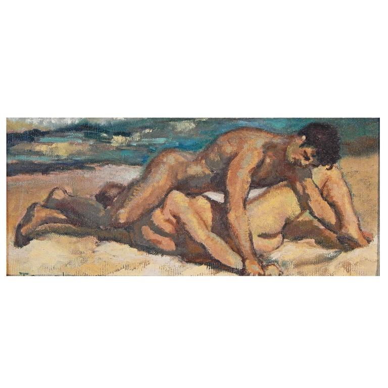 """Wrestlers on the Shore,"" Mid-Century Painting with Male Nudes, 1964"