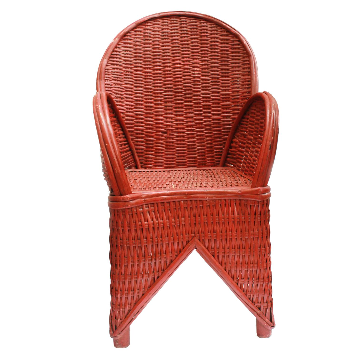 Red Wicker Chair Handmade in Morocco For Sale at 1stdibs