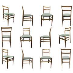 "Set of Twelve ""Leggera"" Dining Chair by Gio Ponti, 1950s"
