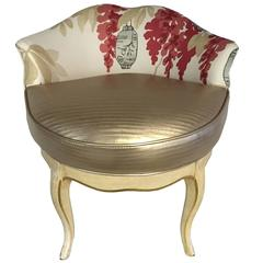 """Vintage French Style Chinoiserie Swivel Vanity Stool - """"Saturday Sale"""""""