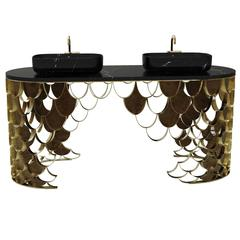 Koi Brass and Black Marble Double Washbasin by Maison Valentina from Europe