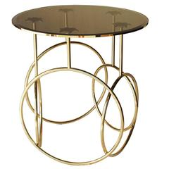 Polished Brass and Glass Round Side Table by Koket from Europe