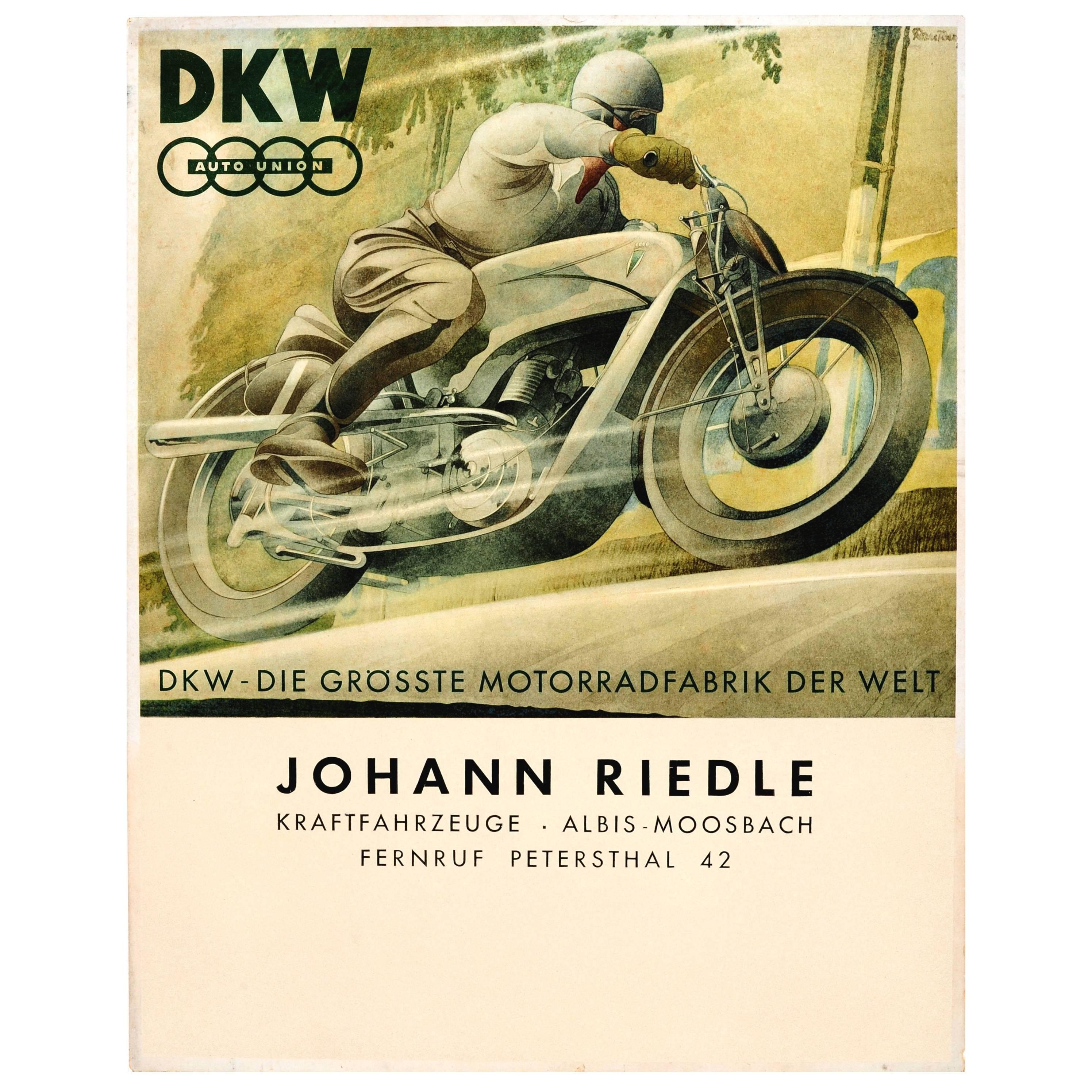 Original Vintage 1930s German Advertising Poster for Dkw Auto Union Motorcycles