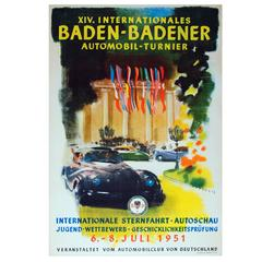Original Vintage Auto Poster XIV International Baden-Baden Car Tournament 1951