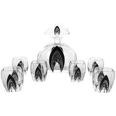 Art Deco Modernist Karl Palda Bohemian Crystal Glass Decanter Set, 1930s