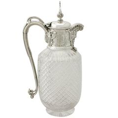 Cut-Glass and Sterling Silver-Mounted Claret Jug, Antique Victorian