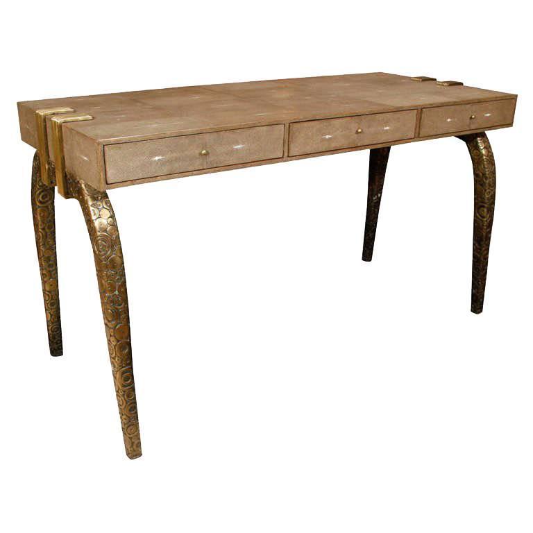 Shagreen Desk With Bronze Desk, France
