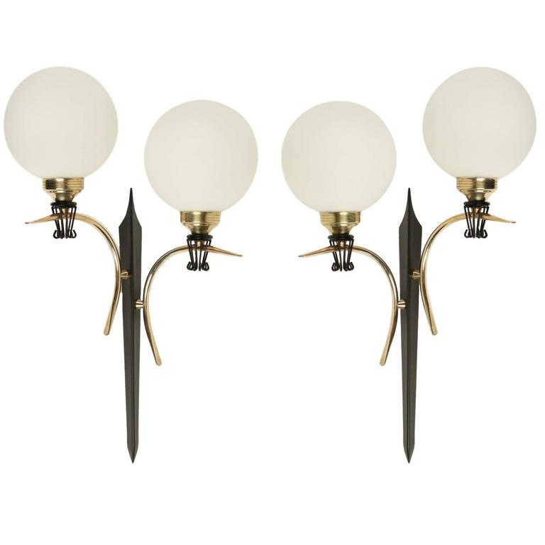 Large Pair of Sconce in the style of Maison Stilnovo, 1950