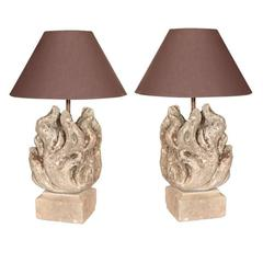 Pair of Carved Stone Flame Finials as Table Lamps