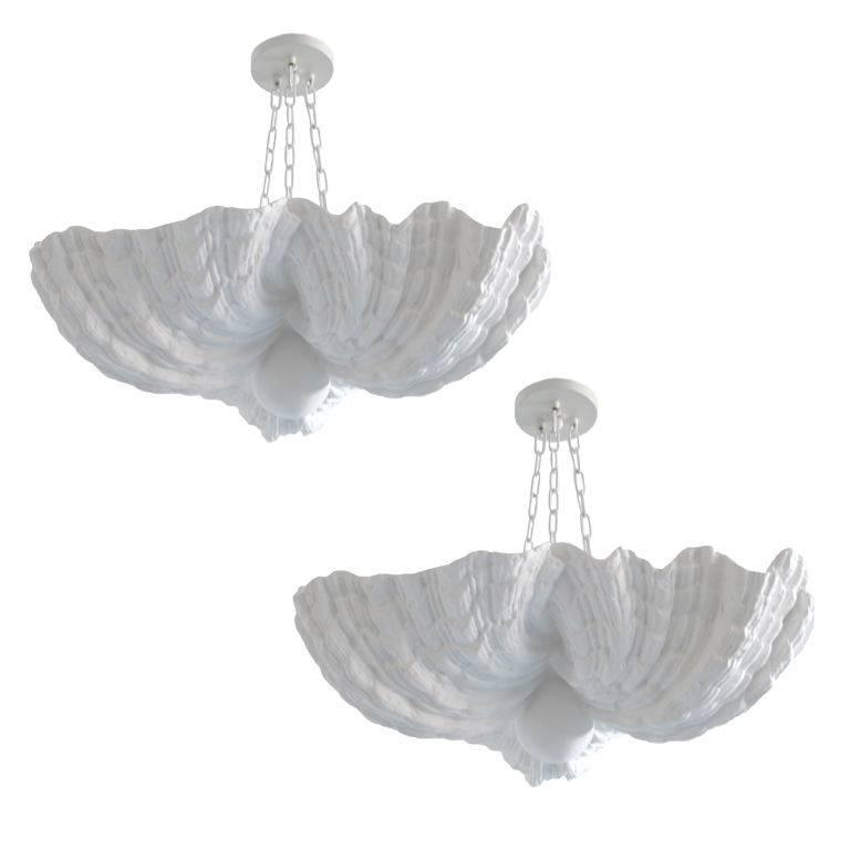 2 french plaster shell chandeliers pendants by jean charles moreux 2 french plaster shell chandeliers pendants by jean charles moreux 1930 for sale aloadofball Gallery