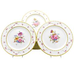 Set of 12 Royal Crown Derby Hand-Painted Dinner Plates with Floral Bouquets