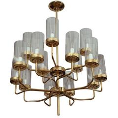 Brass and Glass Two-Tier Chandelier