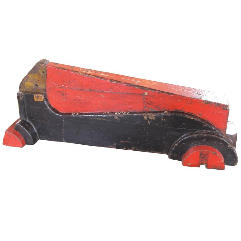 Vintage Wooden Factory Racing Car Art Toy Mold / Pattern
