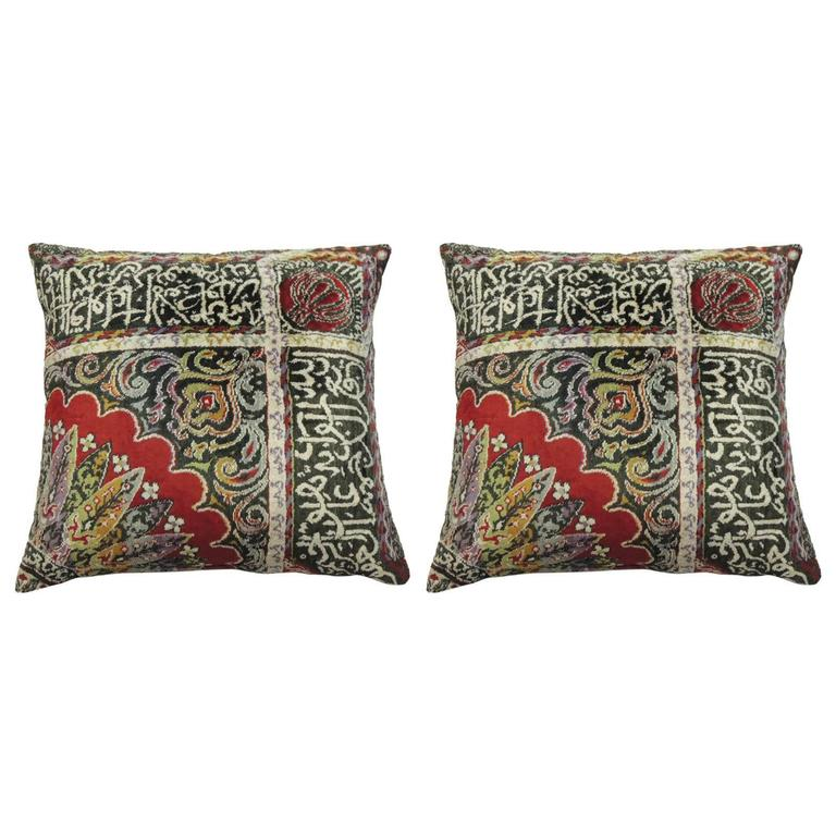 Pair of Large Velvet Turkish Floor Boho Chic Style Pillows at 1stdibs