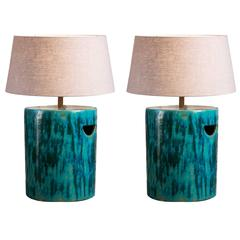 Pair of Large Glazed Ceramic Lamps with Belgian Linen Shades