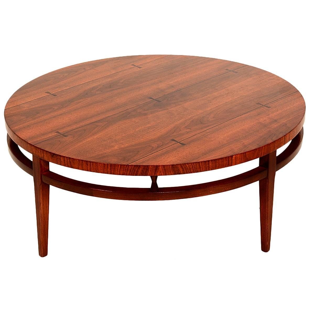 Mid century modern round coffee cocktail table by lane for Modern coffee table sale