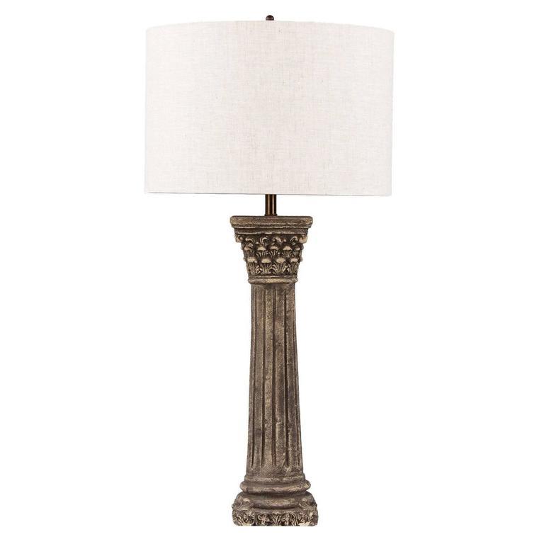 French Corinthian Column Stone Lamp, 20th Century