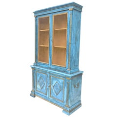 Italian Breakfront Cupboard in Mediterranean Blue Painted Finish