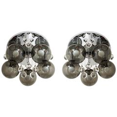 Pair of Smoke and Clear Glass 'Bubbles' Chrome Flush Mount Chandelier Lights